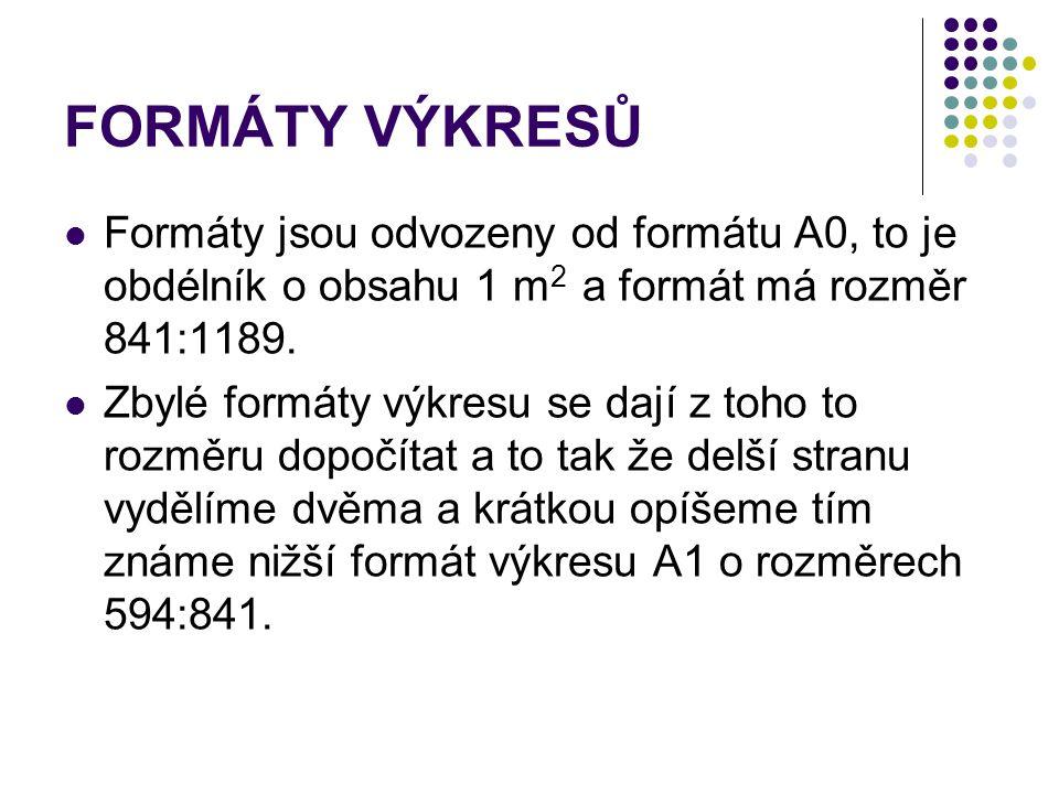 FORMÁTY VÝKRESŮ Formáty jsou odvozeny od formátu A0, to je obdélník o obsahu 1 m 2 a formát má rozměr 841:1189. Zbylé formáty výkresu se dají z toho t