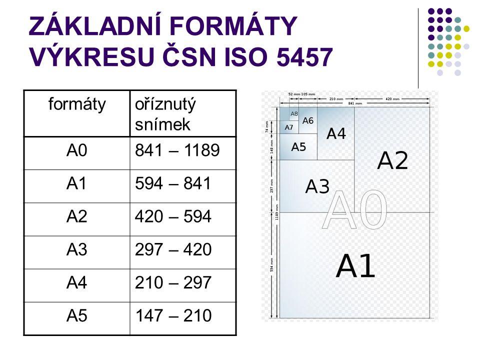 ZÁKLADNÍ FORMÁTY VÝKRESU ČSN ISO 5457 formátyoříznutý snímek A0841 – 1189 A1594 – 841 A2420 – 594 A3297 – 420 A4210 – 297 A5147 – 210