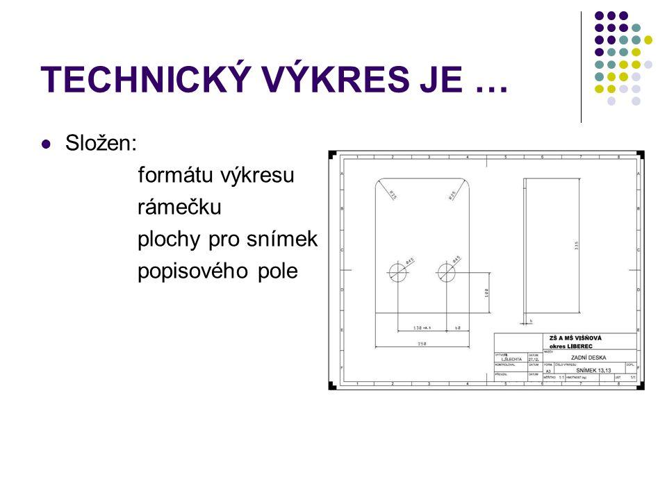 TECHNICKÝ VÝKRES JE … Složen: formátu výkresu rámečku plochy pro snímek popisového pole
