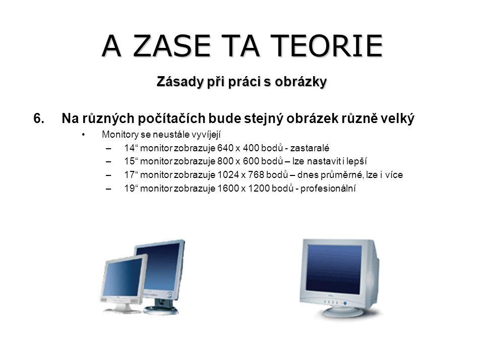 """A ZASE TA TEORIE 6.Na různých počítačích bude stejný obrázek různě velký Monitory se neustále vyvíjejí –14"""" monitor zobrazuje 640 x 400 bodů - zastara"""