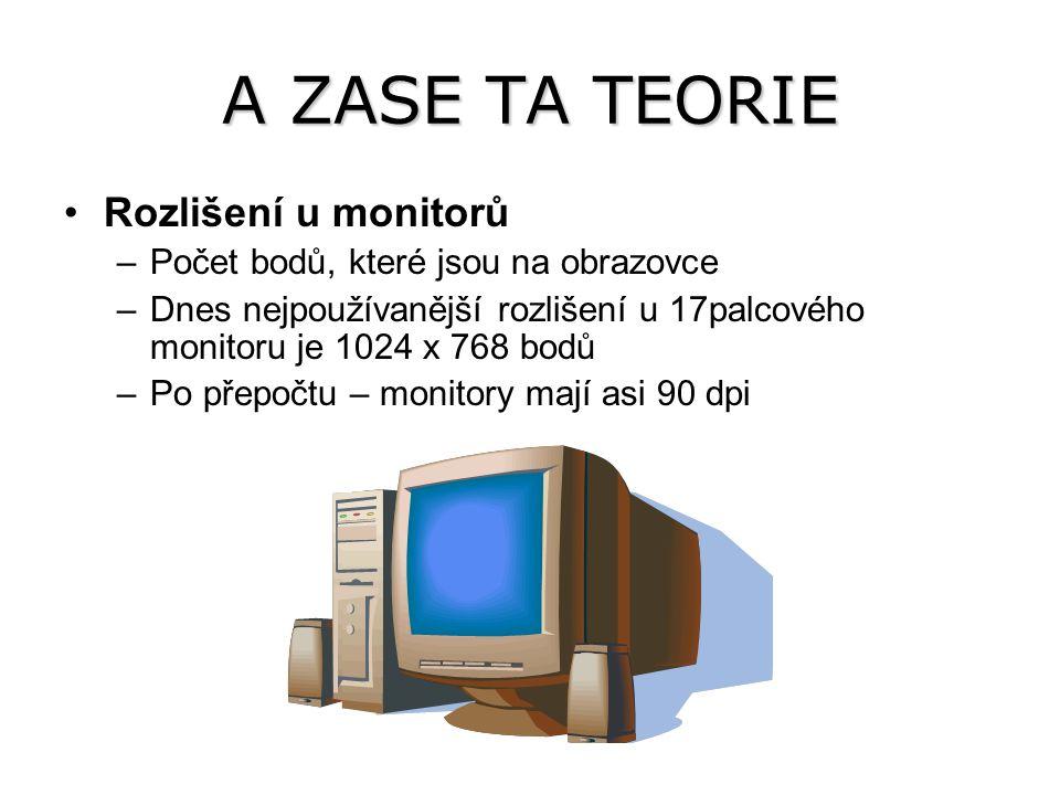 A ZASE TA TEORIE Rozlišení u monitorů –Počet bodů, které jsou na obrazovce –Dnes nejpoužívanější rozlišení u 17palcového monitoru je 1024 x 768 bodů –Po přepočtu – monitory mají asi 90 dpi