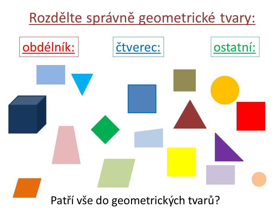 Rozdělte správně geometrické tvary: čtverec:obdélník:ostatní: Patří vše do geometrických tvarů?