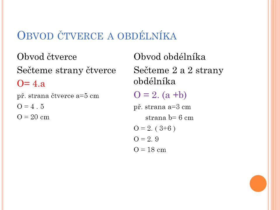 O BVOD ČTVERCE A OBDÉLNÍKA Obvod čtverce Sečteme strany čtverce O= 4.a př.