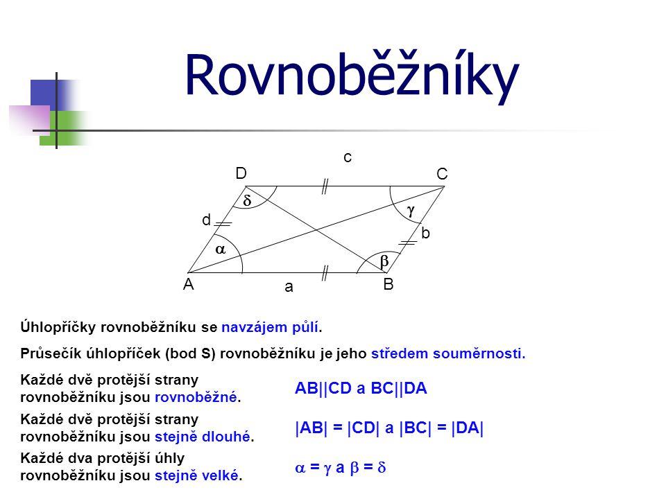 Rovnoběžníky Průsečík úhlopříček (bod S) rovnoběžníku je jeho středem souměrnosti.