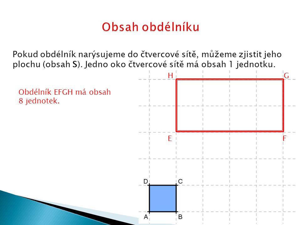 Pokud obdélník narýsujeme do čtvercové sítě, můžeme zjistit jeho plochu (obsah S). Jedno oko čtvercové sítě má obsah 1 jednotku. Obdélník EFGH má obsa