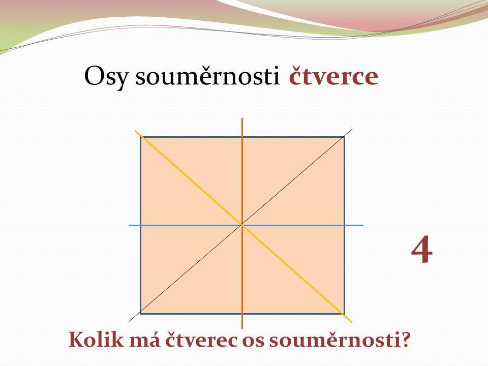 Osy souměrnosti čtverce Kolik má čtverec os souměrnosti? 4