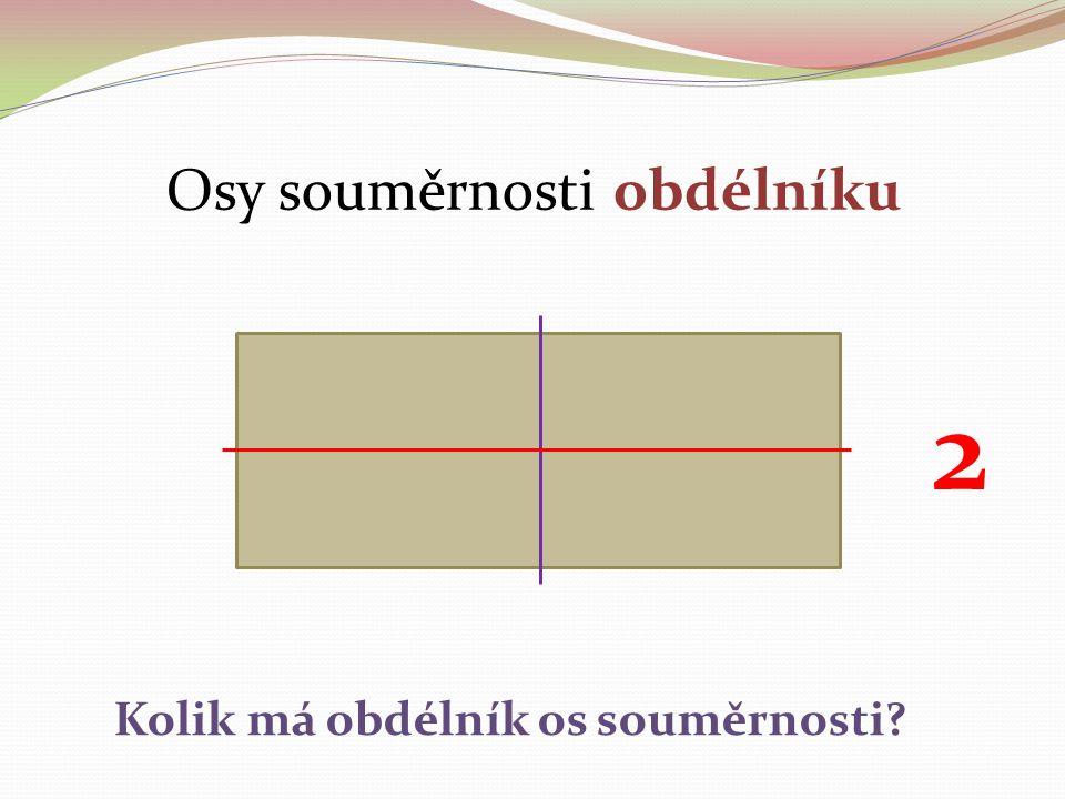 Osy souměrnosti obdélníku Kolik má obdélník os souměrnosti? 2