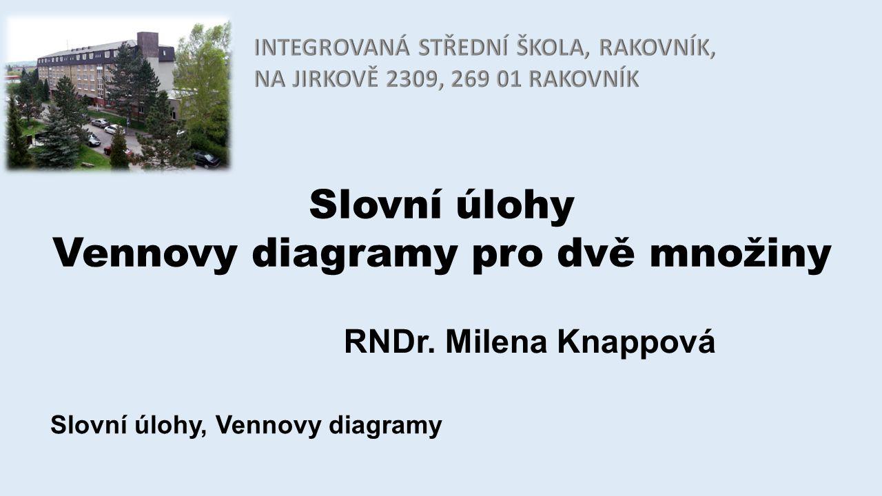 Slovní úlohy Vennovy diagramy pro dvě množiny RNDr. Milena Knappová Slovní úlohy, Vennovy diagramy