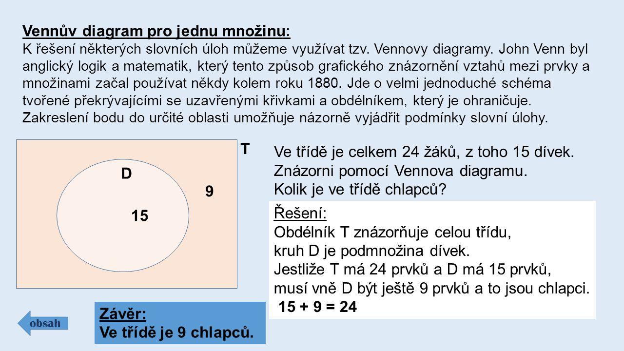 Vennův diagram pro jednu množinu : K řešení některých slovních úloh můžeme využívat tzv. Vennovy diagramy. John Venn byl anglický logik a matematik, k