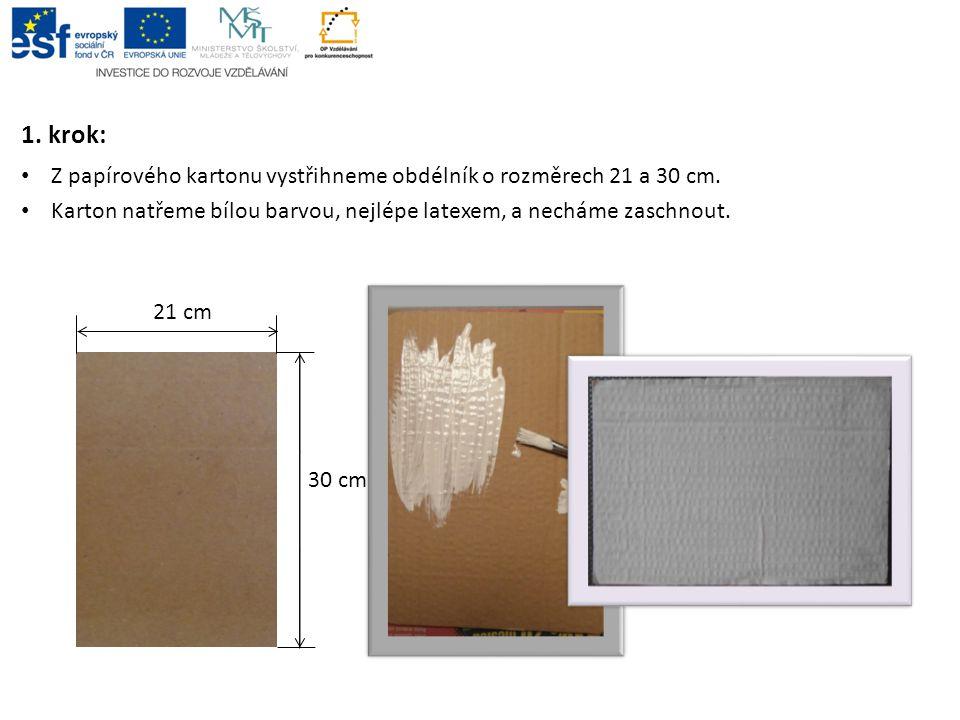 1. krok: Z papírového kartonu vystřihneme obdélník o rozměrech 21 a 30 cm. Karton natřeme bílou barvou, nejlépe latexem, a necháme zaschnout. 21 cm 30