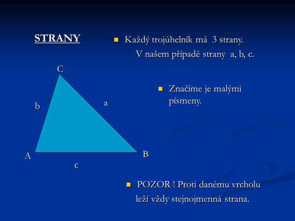 Popis trojúhelníku VRCHOLY Každý trojúhelník má Každý trojúhelník má 3 vrcholy. Například A,B,C. 3 vrcholy. Například A,B,C. Píšeme je vždy Píšeme je