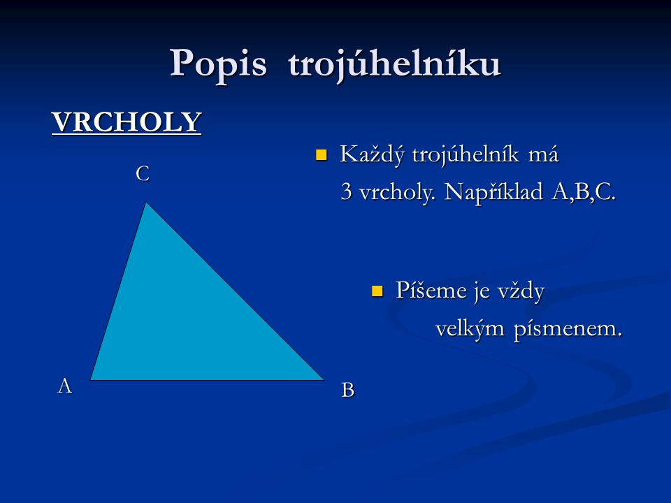 Popis trojúhelníku VRCHOLY Každý trojúhelník má Každý trojúhelník má 3 vrcholy.