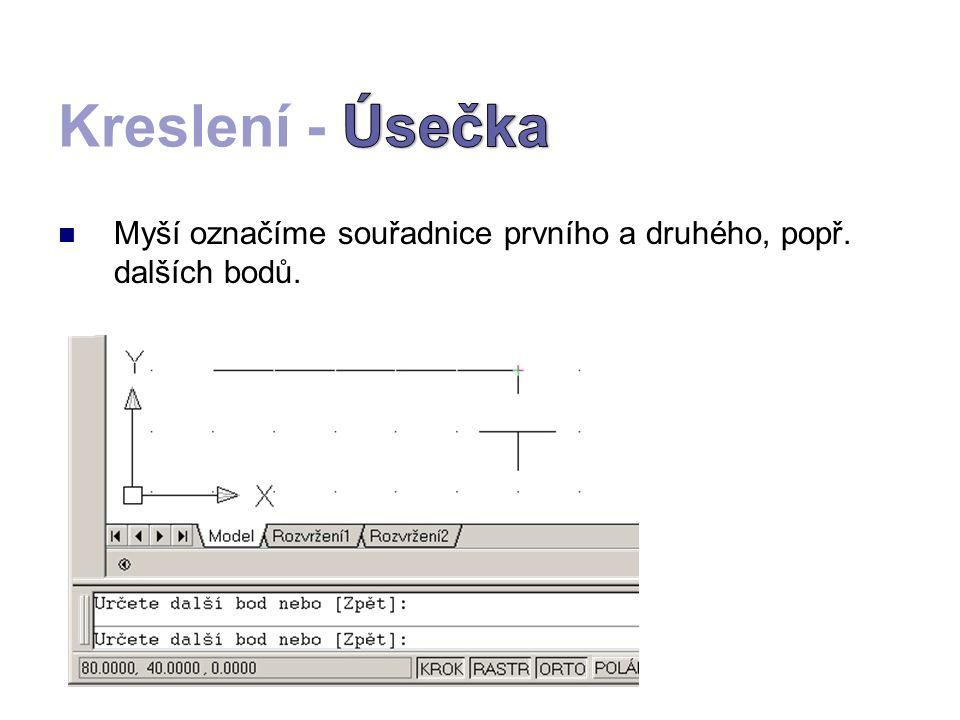 Kliknutím na objekt se zobrazí referenční body segmentů.