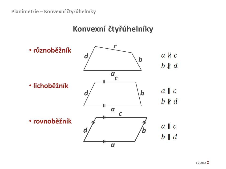 strana 2 Konvexní čtyřúhelníky různoběžník lichoběžník rovnoběžník Planimetrie – Konvexní čtyřúhelníky a b c d a a b b c c d d = = = = ==