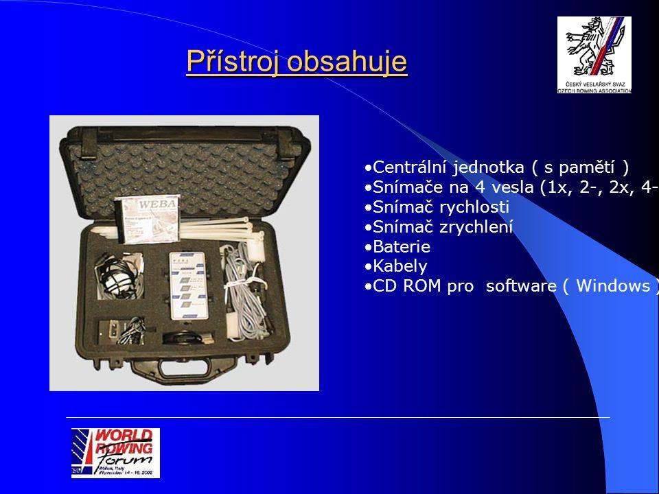 Přístroj obsahuje Centrální jednotka ( s pamětí ) Snímače na 4 vesla (1x, 2-, 2x, 4-) Snímač rychlosti Snímač zrychlení Baterie Kabely CD ROM pro software ( Windows )