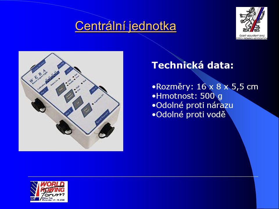 Centrální jednotka Technická data: Rozměry: 16 x 8 x 5,5 cm Hmotnost: 500 g Odolné proti nárazu Odolné proti vodě