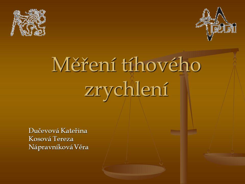 Měření tíhového zrychlení Dučevová Kateřina Kosová Tereza Nápravníková Věra