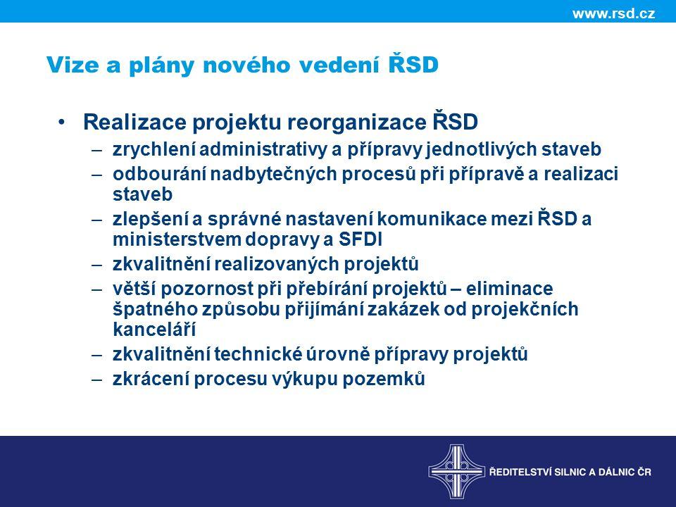 www.rsd.cz Vize a plány nového vedení ŘSD Realizace projektu reorganizace ŘSD –zrychlení administrativy a přípravy jednotlivých staveb –odbourání nadb