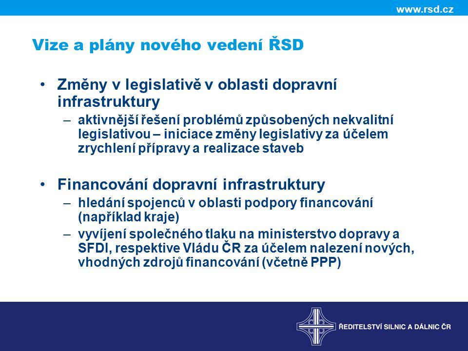 www.rsd.cz Vize a plány nového vedení ŘSD Změny v legislativě v oblasti dopravní infrastruktury –aktivnější řešení problémů způsobených nekvalitní leg