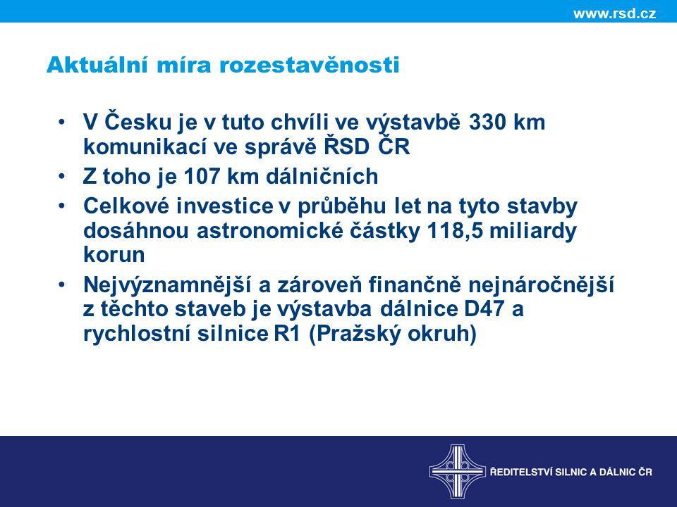 Aktuální míra rozestavěnosti V Česku je v tuto chvíli ve výstavbě 330 km komunikací ve správě ŘSD ČR Z toho je 107 km dálničních Celkové investice v průběhu let na tyto stavby dosáhnou astronomické částky 118,5 miliardy korun Nejvýznamnější a zároveň finančně nejnáročnější z těchto staveb je výstavba dálnice D47 a rychlostní silnice R1 (Pražský okruh)