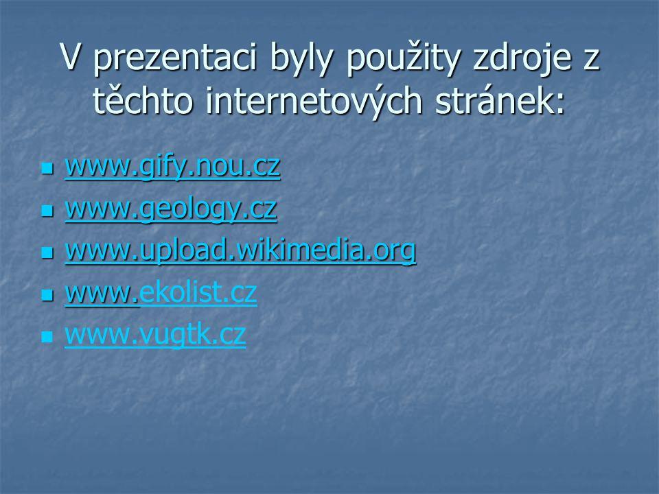 V prezentaci byly použity zdroje z těchto internetových stránek: www.gify.nou.cz www.gify.nou.cz www.gify.nou.cz www.geology.cz www.geology.cz www.geology.cz www.upload.wikimedia.org www.upload.wikimedia.org www.upload.wikimedia.org www.