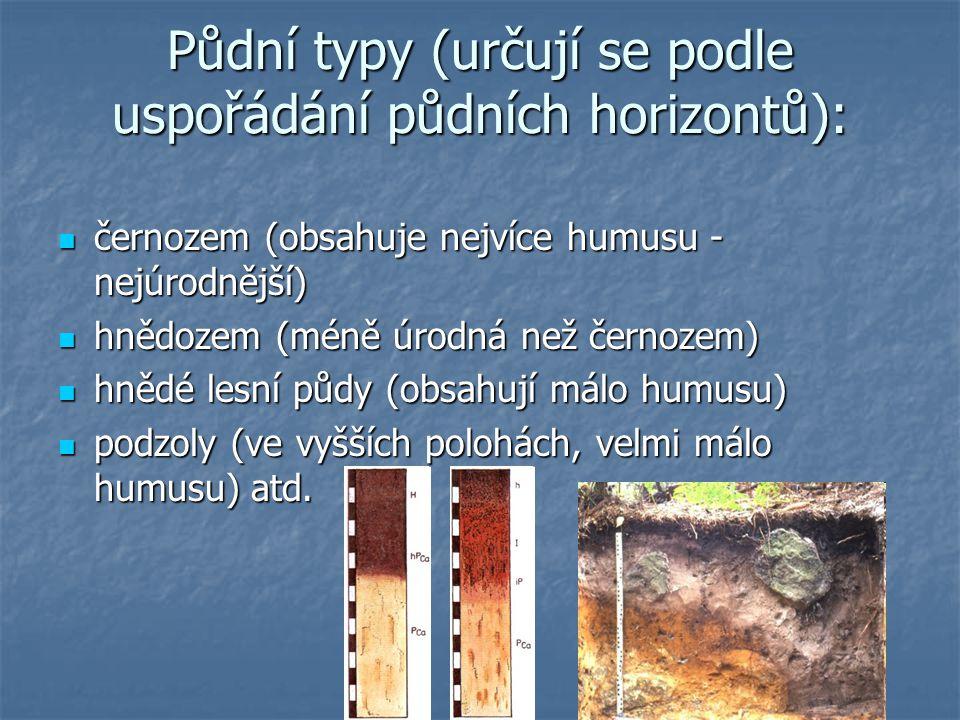 Půdní druhy (určují se podle zrnitosti půdy) písčité písčité hlinité hlinité jílovité atd.