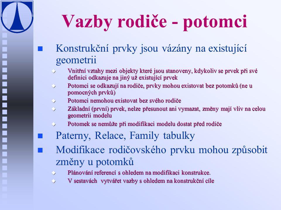 Vazby rodiče - potomci n n Konstrukční prvky jsou vázány na existující geometrii u Vnitřní vztahy mezi objekty které jsou stanoveny, kdykoliv se prvek při své definici odkazuje na jiný už existující prvek u Potomci se odkazují na rodiče, prvky mohou existovat bez potomků (ne u pomocných prvků) u Potomci nemohou existovat bez svého rodiče u Základní (první) prvek, nelze přesunout ani vymazat, změny mají vliv na celou geometrii modelu u Potomek se nemůže při modifikaci modelu dostat před rodiče n n Paterny, Relace, Family tabulky n n Modifikace rodičovského prvku mohou způsobit změny u potomků u Plánování referencí s ohledem na modifikaci konstrukce.