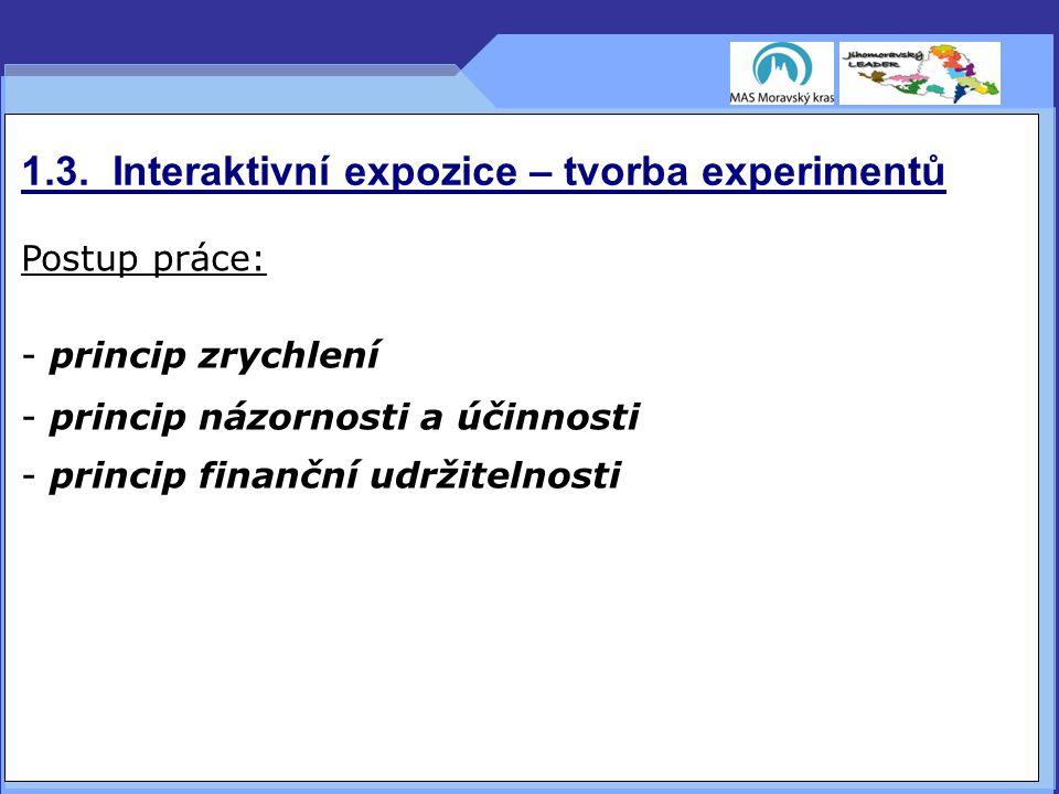 1.3. Interaktivní expozice – tvorba experimentů Postup práce: - princip zrychlení - princip názornosti a účinnosti - princip finanční udržitelnosti
