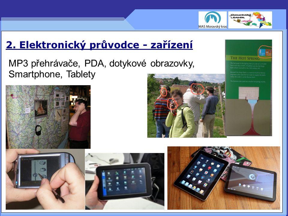 2. Elektronický průvodce - zařízení MP3 přehrávače, PDA, dotykové obrazovky, Smartphone, Tablety