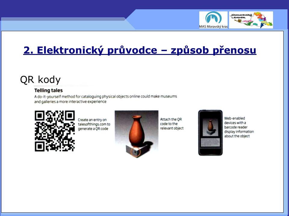 2. Elektronický průvodce – způsob přenosu QR kody