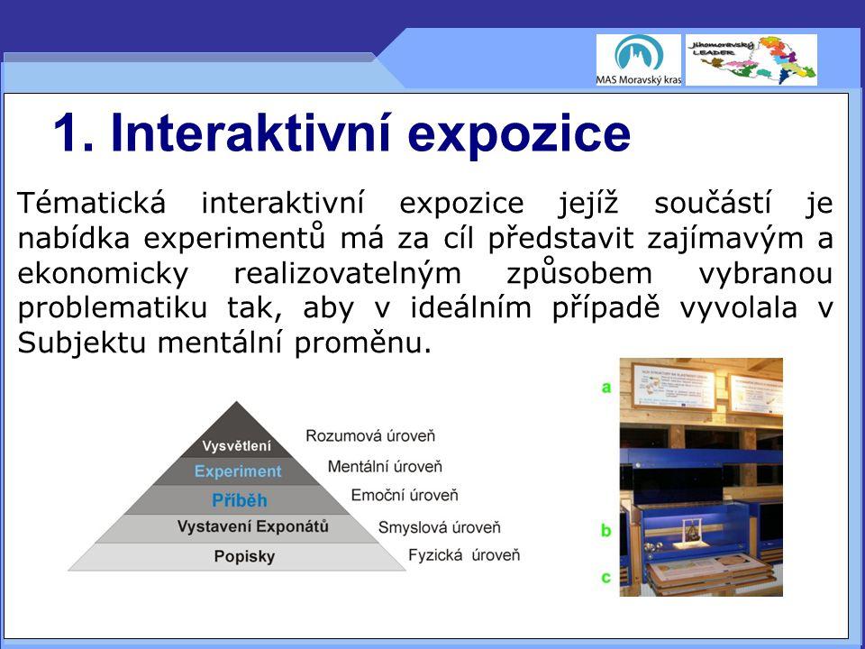 1. Interaktivní expozice Tématická interaktivní expozice jejíž součástí je nabídka experimentů má za cíl představit zajímavým a ekonomicky realizovate