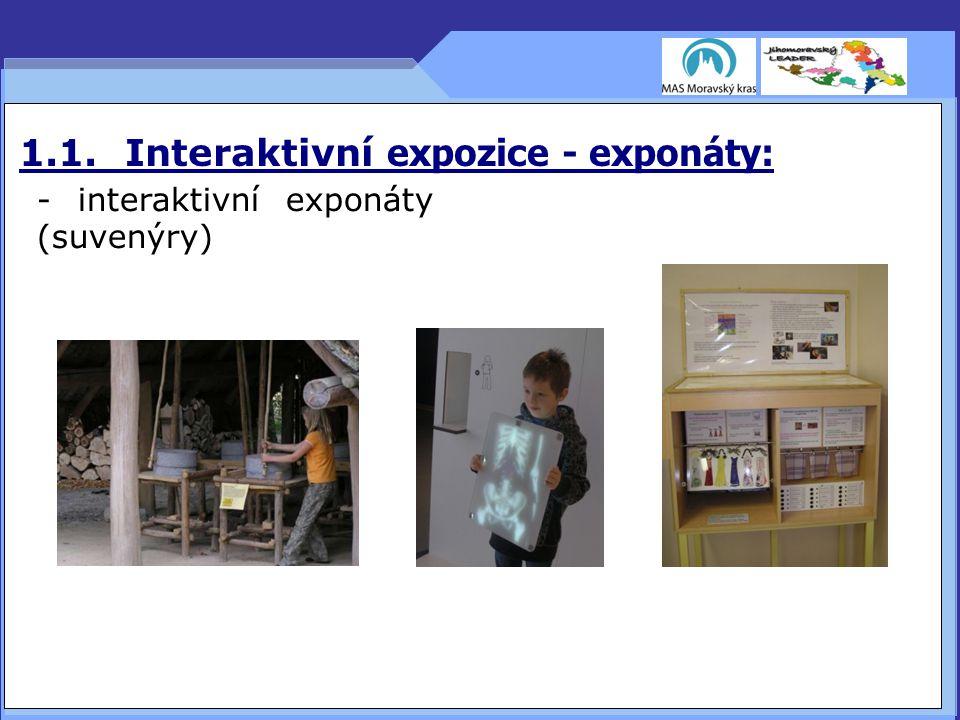1.1. Interaktivní expozice - exponáty: - interaktivní exponáty (suvenýry) 