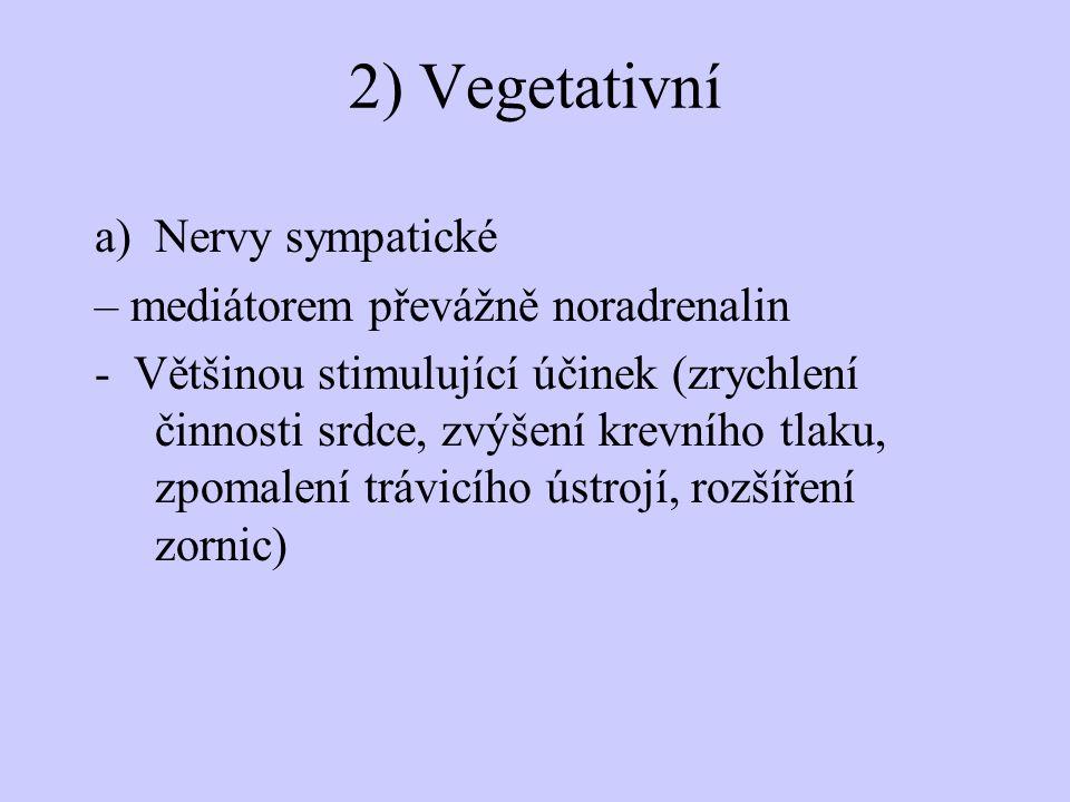 2) Vegetativní a)Nervy sympatické – mediátorem převážně noradrenalin - Většinou stimulující účinek (zrychlení činnosti srdce, zvýšení krevního tlaku,