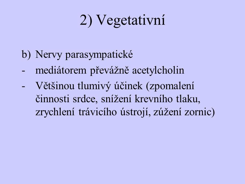 2) Vegetativní b)Nervy parasympatické -mediátorem převážně acetylcholin -Většinou tlumivý účinek (zpomalení činnosti srdce, snížení krevního tlaku, zr