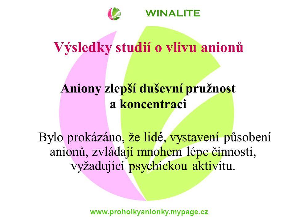 www.proholkyanionky.mypage.cz Bylo prokázáno, že lidé, vystavení působení anionů, zvládají mnohem lépe činnosti, vyžadující psychickou aktivitu.