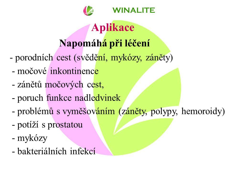 Aplikace - porodních cest (svědění, mykózy, záněty) - močové inkontinence - zánětů močových cest, - poruch funkce nadledvinek - problémů s vyměšováním (záněty, polypy, hemoroidy) - potíží s prostatou - mykózy - bakteriálních infekcí WINALITE Napomáhá při léčení