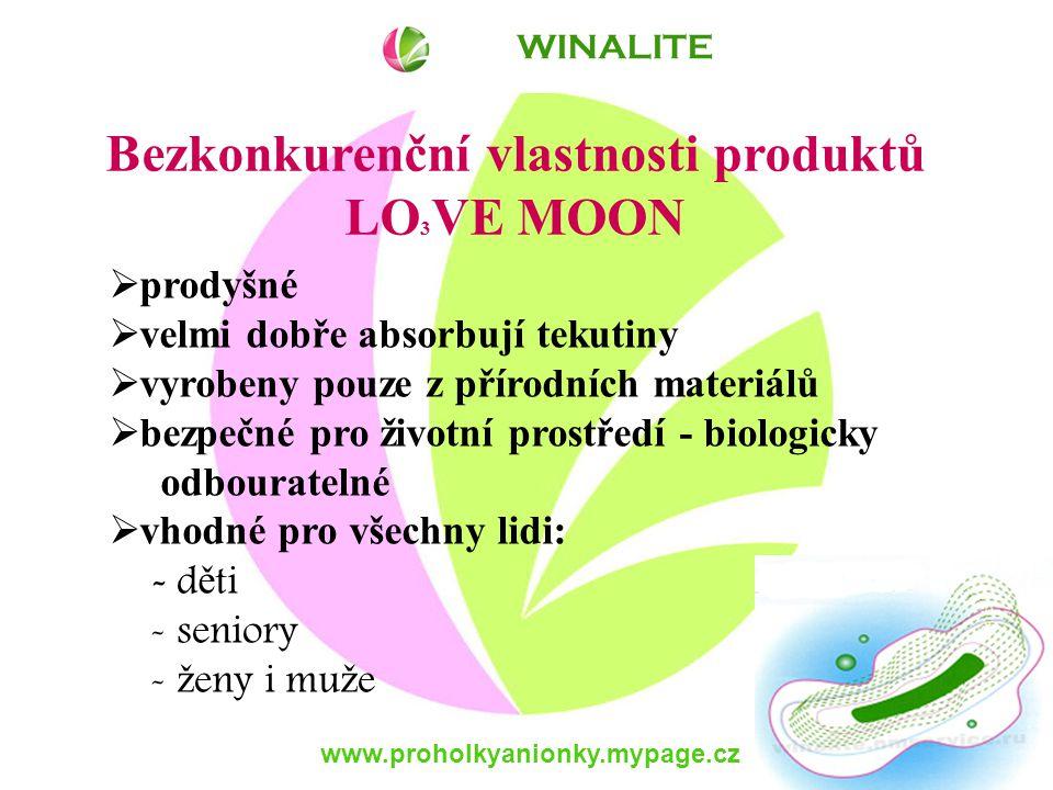 www.proholkyanionky.mypage.cz Bezkonkurenční vlastnosti produktů LO 3 VE MOON  prodyšné  velmi dobře absorbují tekutiny  vyrobeny pouze z přírodních materiálů  bezpečné pro životní prostředí - biologicky odbouratelné  vhodné pro všechny lidi: - d ě ti - seniory - ž eny i mu ž e WINALITE