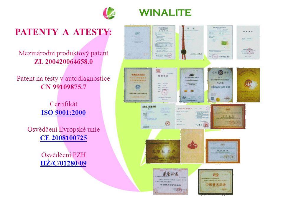 WINALITE PATENTY A ATESTY: Mezinárodní produktový patent ZL 200420064658.0 Patent na testy v autodiagnostice CN 99109875.7 Certifikát ISO 9001:2000 ISO 9001:2000 Osvědčení Evropské unie CE 2008100725 CE 2008100725 Osvědčení PZH HŻ/C/01280/09 HŻ/C/01280/09