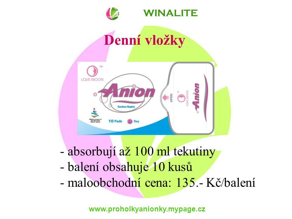 www.proholkyanionky.mypage.cz Denní vložky - absorbují až 100 ml tekutiny - balení obsahuje 10 kusů - maloobchodní cena: 135.- Kč / balení WINALITE