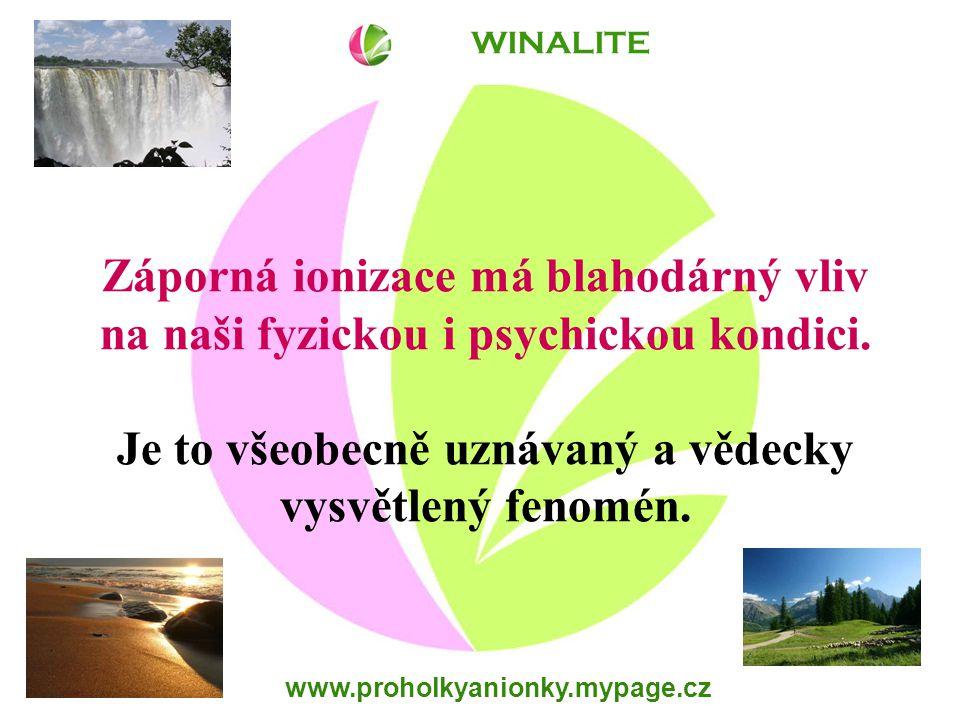 www.proholkyanionky.mypage.cz Vyskyt anionů v našem prostředí v blízkosti vodopádů 1 000 000 /cm 3 na horách, u moře 2 000 – 5 000 /cm 3 v lese 2 000 – 3 000 /cm 3 na loukách 1 000 /cm 3 v obytných prostorách 100 – 200 /cm 3 v kancelářích 40 – 60 /cm 3 WINALITE