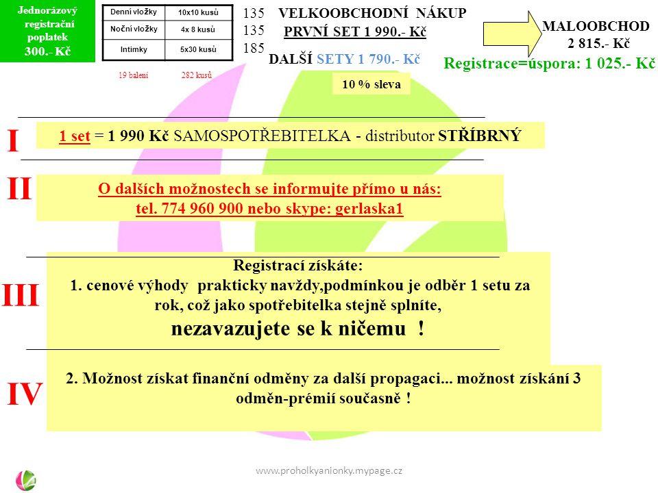 MALOOBCHOD 2 815.- Kč Registrace=úspora: 1 025.- Kč I II III IV 1 set = 1 990 Kč SAMOSPOTŘEBITELKA - distributor STŘÍBRNÝ O dalších možnostech se informujte přímo u nás: tel.