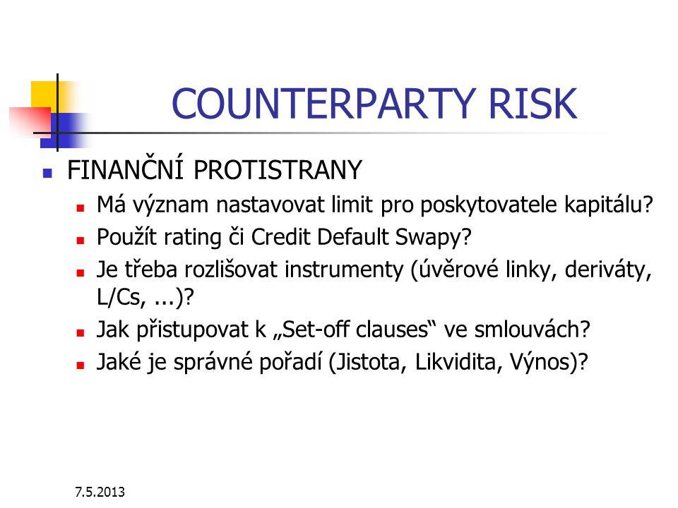 7.5.2013 COUNTERPARTY RISK FINANČNÍ PROTISTRANY Má význam nastavovat limit pro poskytovatele kapitálu? Použít rating či Credit Default Swapy? Je třeba