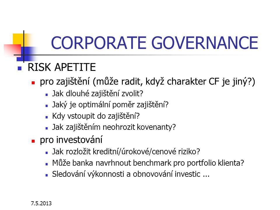 7.5.2013 CORPORATE GOVERNANCE RISK APETITE pro zajištění (může radit, když charakter CF je jiný?) Jak dlouhé zajištění zvolit? Jaký je optimální poměr