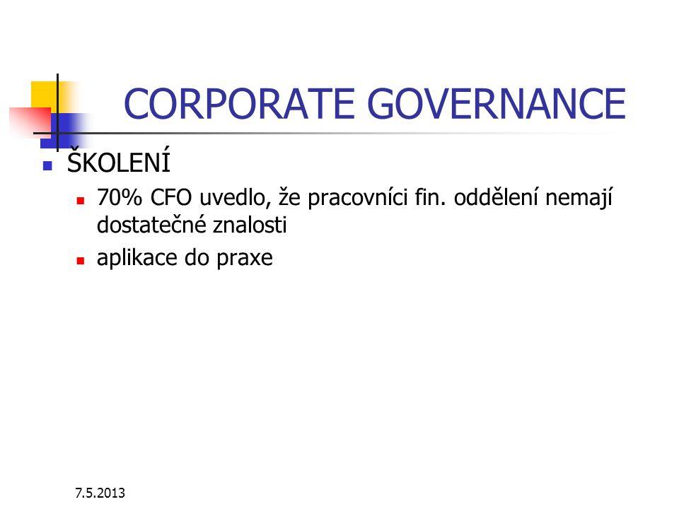 7.5.2013 CORPORATE GOVERNANCE ŠKOLENÍ 70% CFO uvedlo, že pracovníci fin. oddělení nemají dostatečné znalosti aplikace do praxe