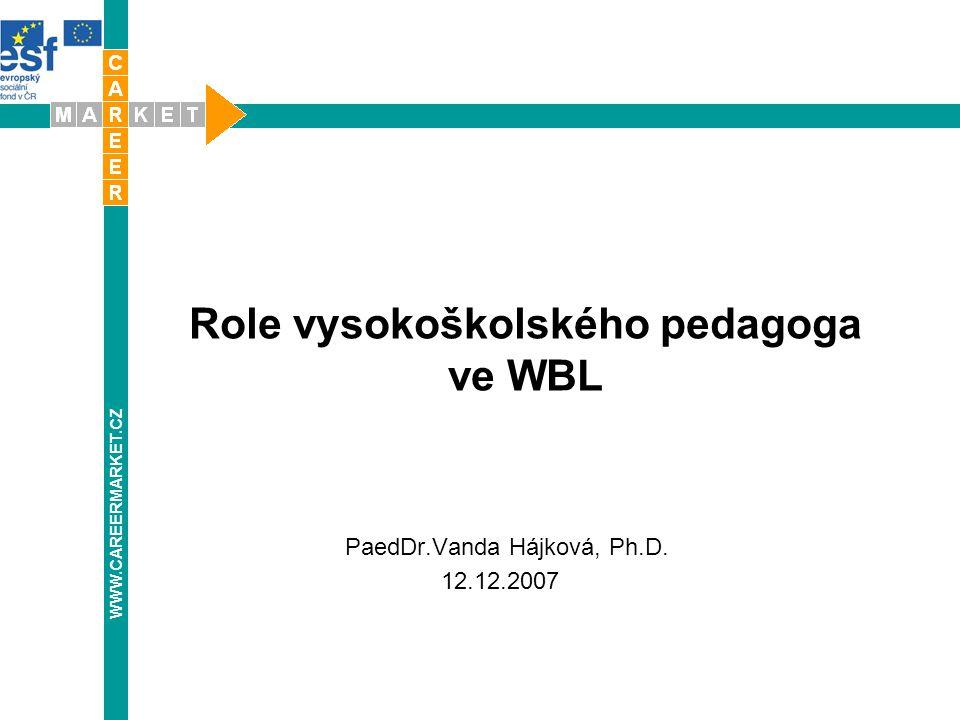 Role vysokoškolského pedagoga ve WBL WWW.CAREERMARKET.CZ PaedDr.Vanda Hájková, Ph.D. 12.12.2007