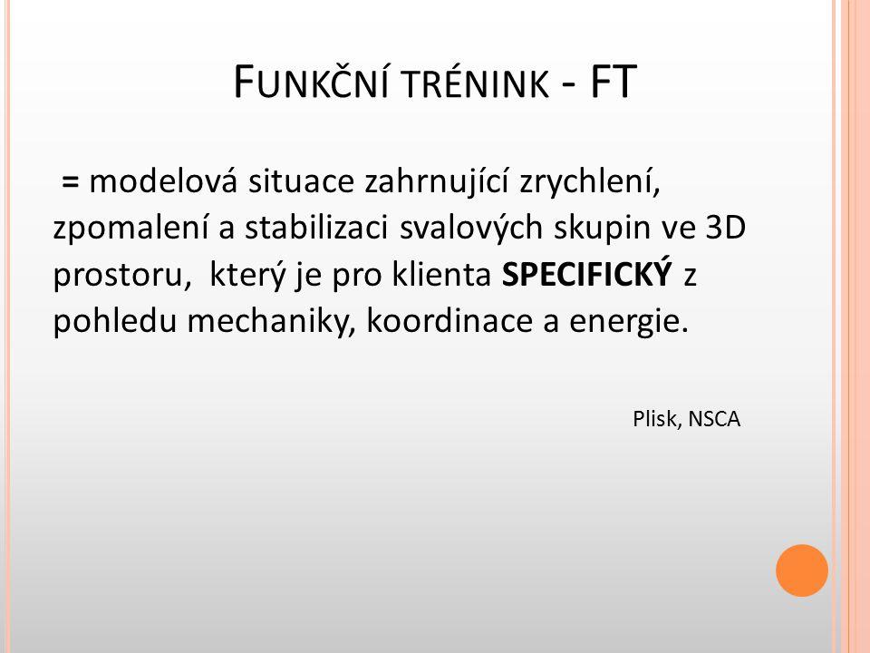 F UNKČNÍ TRÉNINK - FT = modelová situace zahrnující zrychlení, zpomalení a stabilizaci svalových skupin ve 3D prostoru, který je pro klienta SPECIFICK