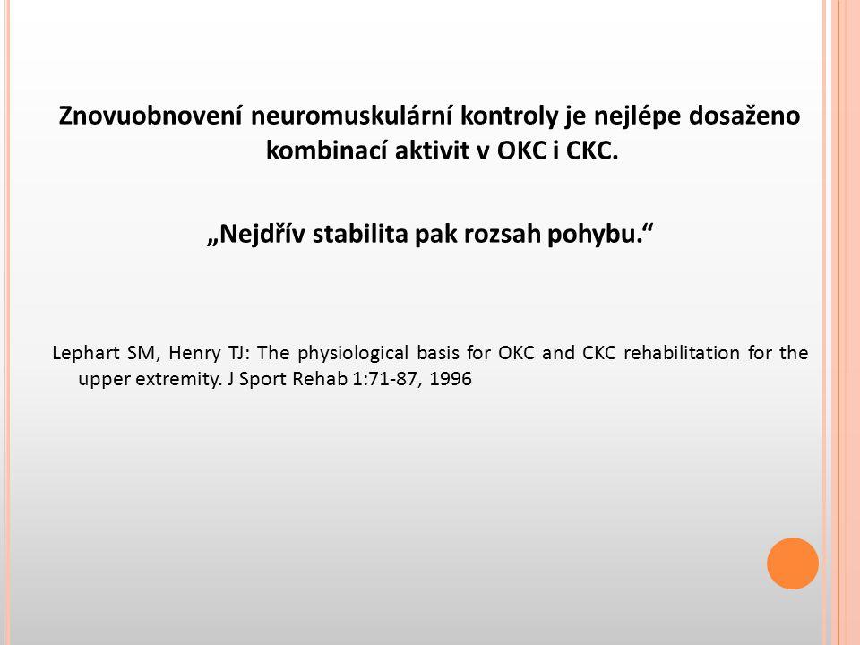 """Znovuobnovení neuromuskulární kontroly je nejlépe dosaženo kombinací aktivit v OKC i CKC. """"Nejdřív stabilita pak rozsah pohybu."""" Lephart SM, Henry TJ:"""