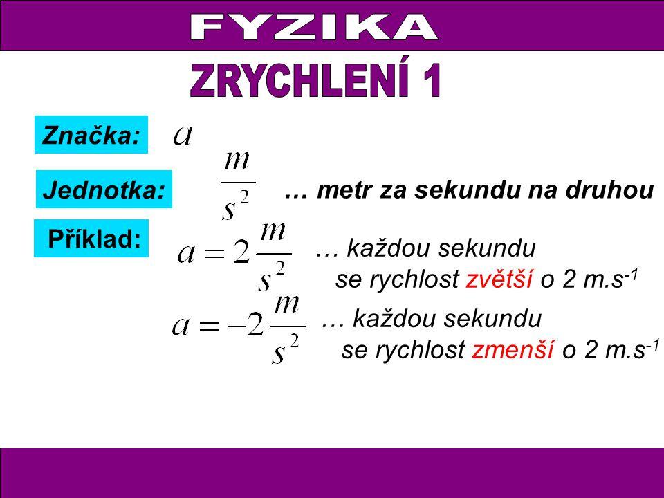 Značka: Jednotka: … metr za sekundu na druhou Příklad: … každou sekundu se rychlost zvětší o 2 m.s -1 … každou sekundu se rychlost zmenší o 2 m.s -1