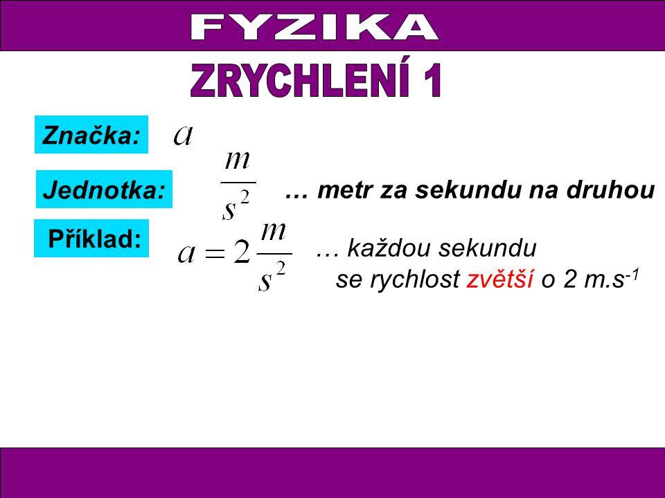 Značka: Jednotka: … metr za sekundu na druhou Příklad: … každou sekundu se rychlost zvětší o 2 m.s -1