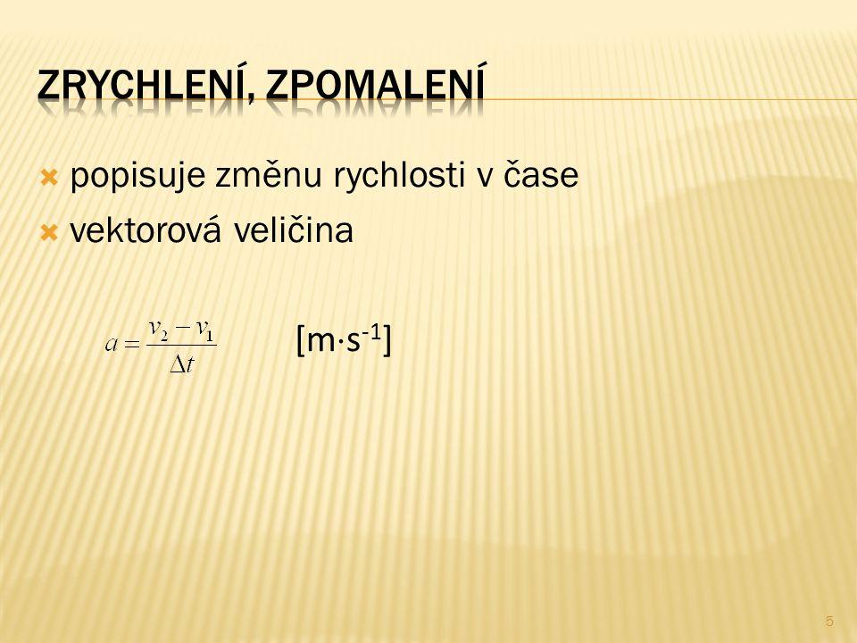  popisuje změnu rychlosti v čase  vektorová veličina [m  s -1 ] 5